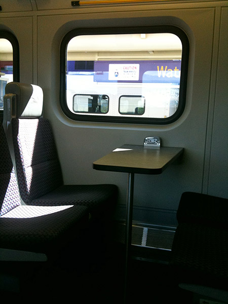 Photo of the seats on the West Coast Express Train