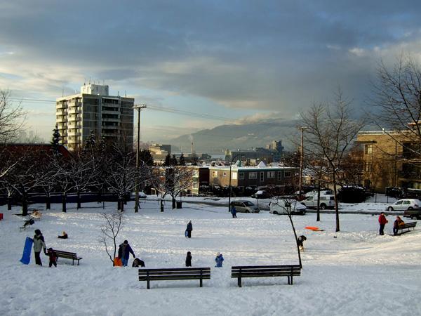 Snow day at Salisbury Park in East Van