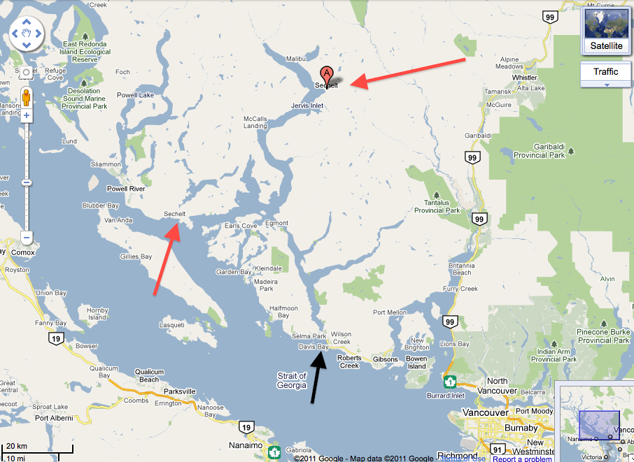 Google Map Location of Sechelt BC