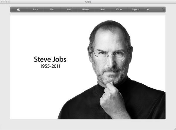 Apple.com Home Page on October 5, 2011