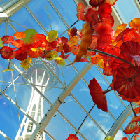 The Seattle Space Needle seen through the Glass House and a