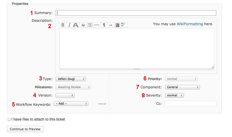 Screenshot of a WordPress Trac Ticket