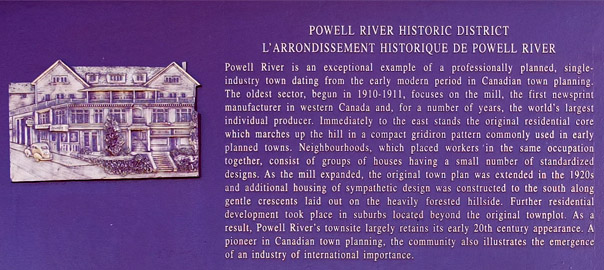 Powell River Historic District Plaque from the Historic Sites and Monument Board of Canada