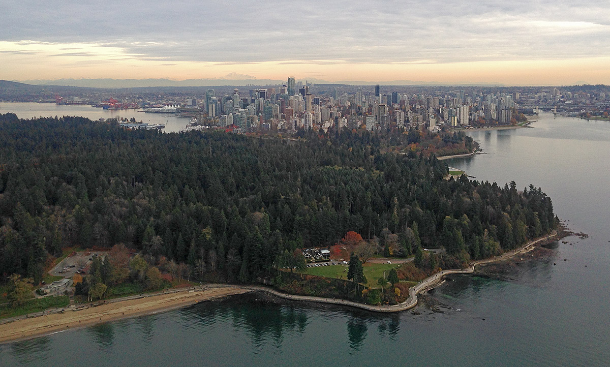 The Final Approach into Vancouver with English Bay, Stanley Park, Downtown Vancouver and Burrard Inlet in view. Far off in the distance Mount Baker. Photo Copyright 2013 Robert Dall ~ All Rights Reserved