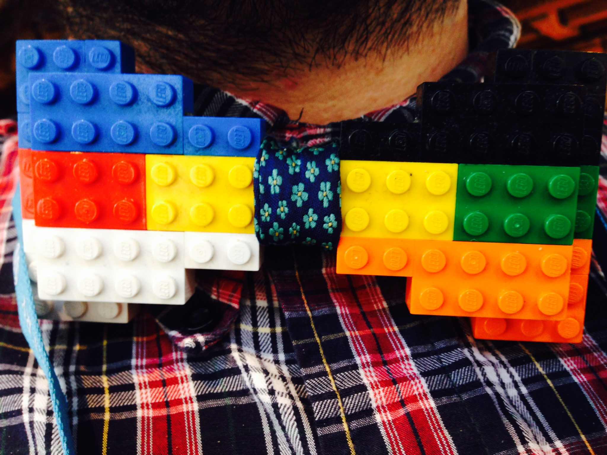 Aaron Jorbin and his Lego Bowtie at WordCamp Seattle