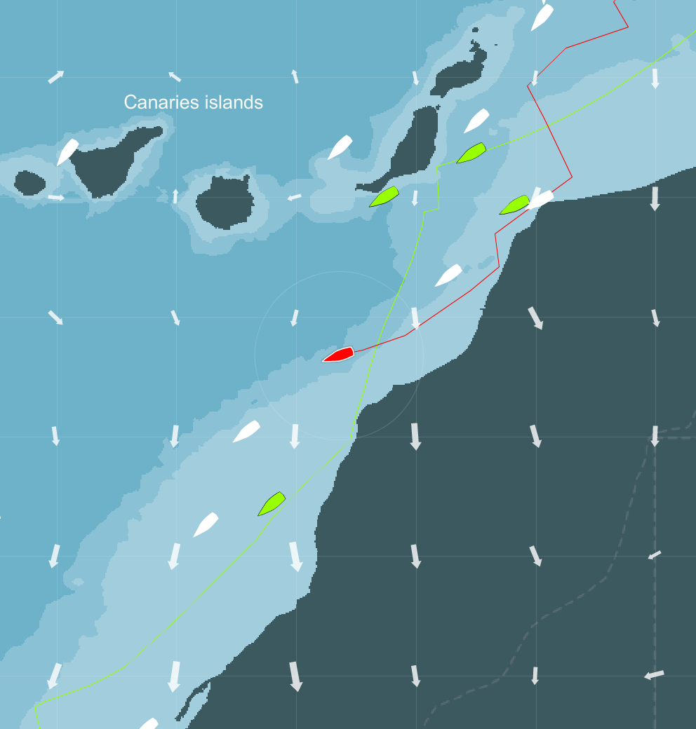 Your displayed in red, friends/competitors in green other boats are in white.