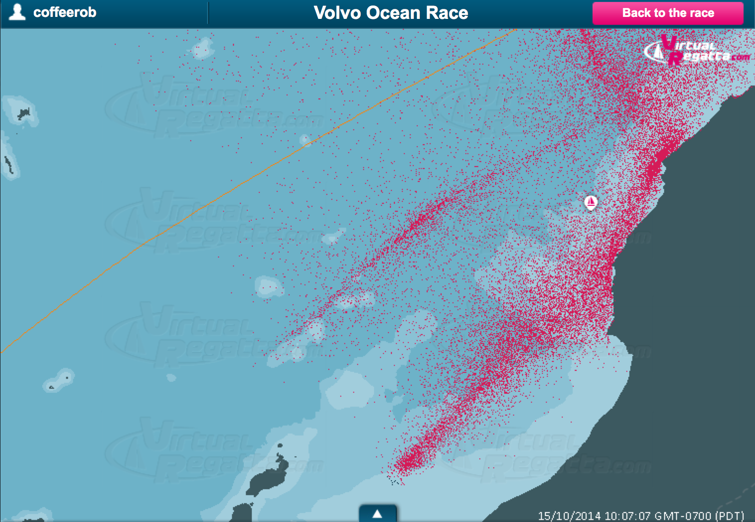 Every pink dot is another player in the Volvo Ocean Race Virtual game. The fleet is splitting the Canaries.