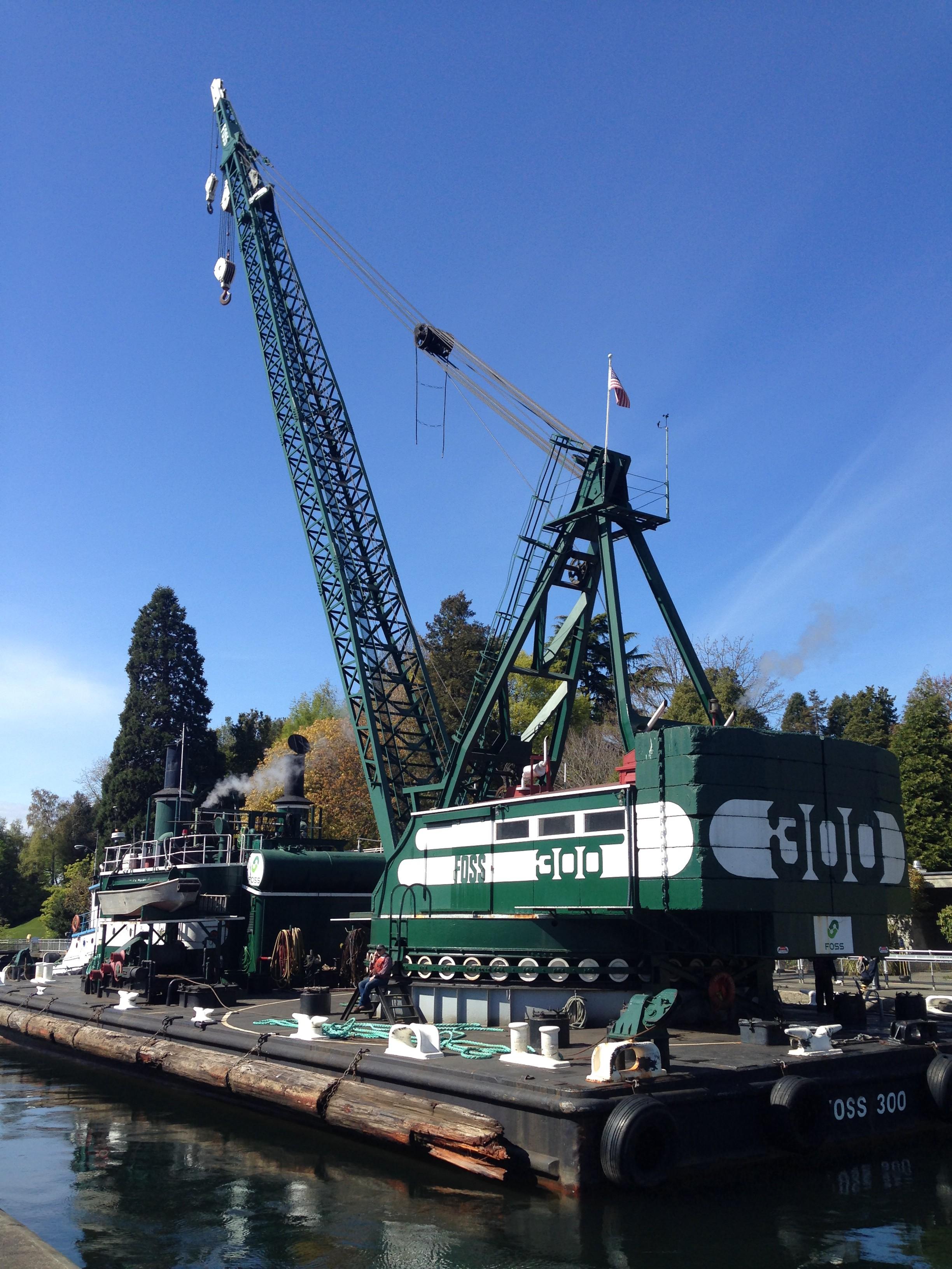 Foss 300 derrick, The last steam crane still operating on the West Coast of North America. Leaves the Ballard Locks