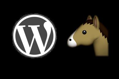 WordPress logo and Horse Emoji as a graphic